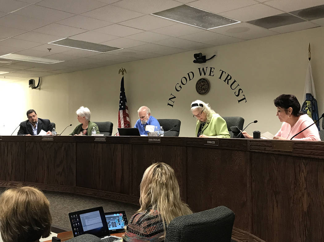 Robin Hebrock/Pahrump Valley Times From right to left are Nye County Commissioners Donna Cox, D ...