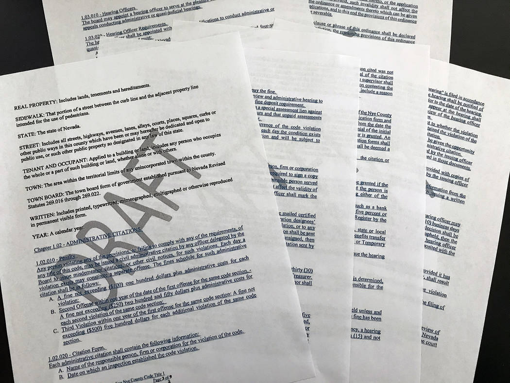 Robin Hebrock/Pahrump Valley Times This photo shows the draft of the bill proposed to amend Nye ...