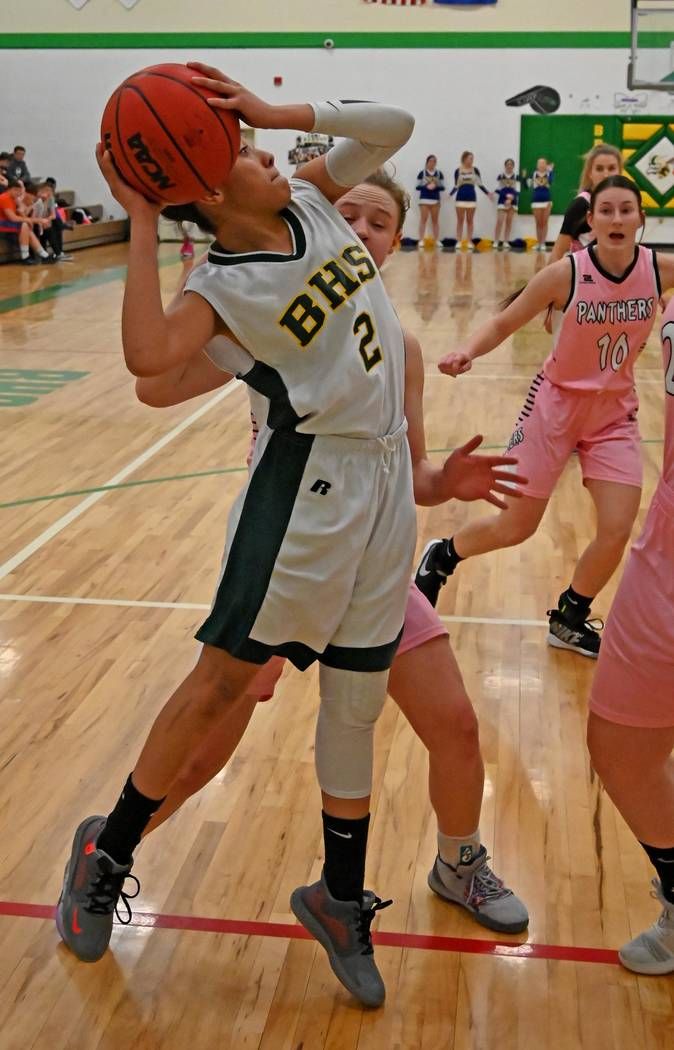 Richard Stephens/Special to the Pahrump Valley Times Beatty's Jaylynn Wright makes a move along ...