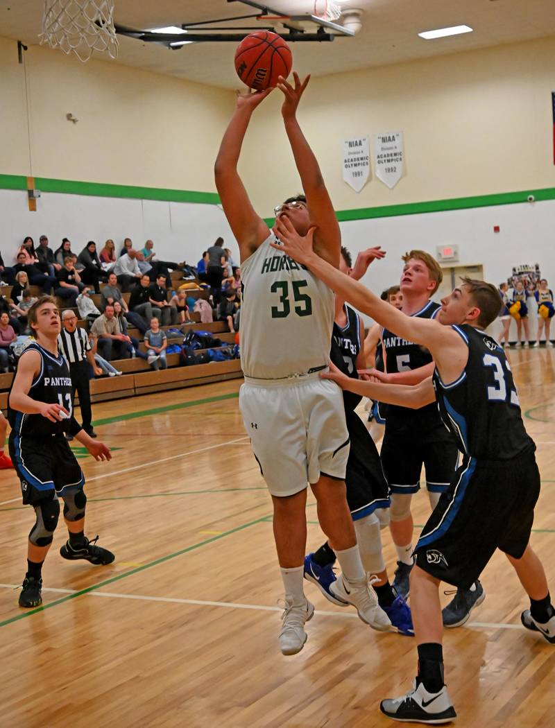 Richard Stephens/Special to the Pahrump Valley Times Juan Lopez makes a move toward the basket ...