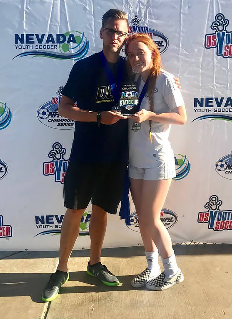 Julie Carrington/Special to the Pahrump Valley Times Kaitlyn Carrington shows off the State Cup ...