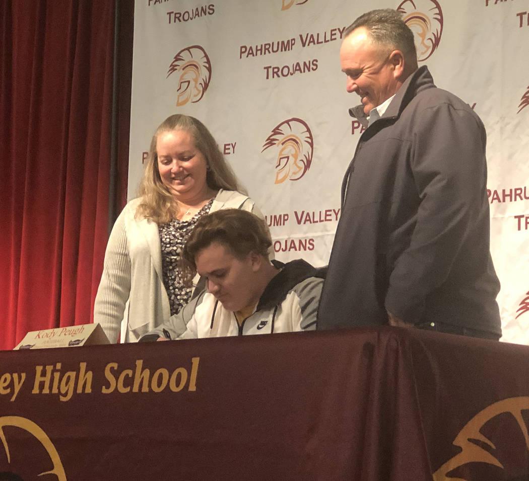Tom Rysinski/Pahrump Valley Times Pahrump Valley High School senior Kody Peugh will be joining ...