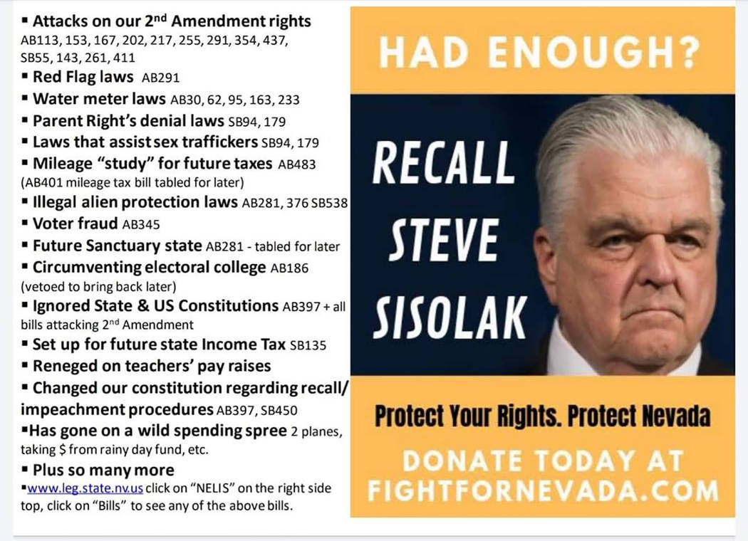 Special to the Pahrump Valley Times Provided by representatives of Fight For Nevada, this flyer ...