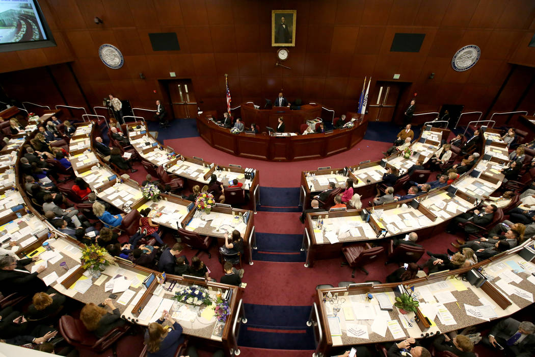 K.M. Cannon/Las Vegas Review-Journal Speaker Jason Frierson, D-Las Vegas, presides over the Ass ...
