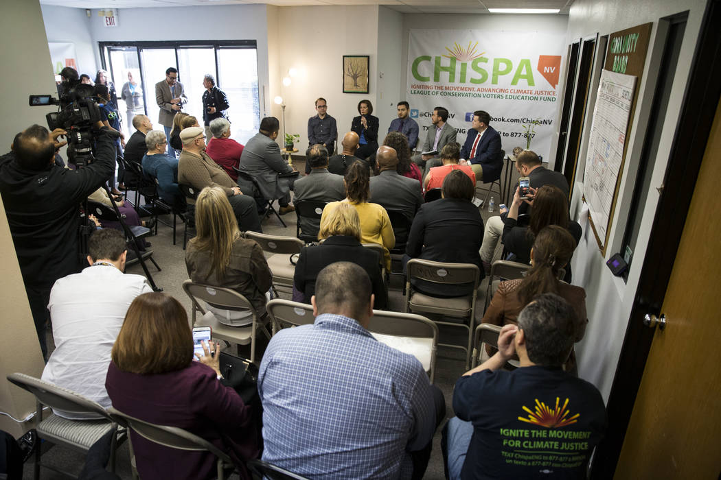U.S. Sen. Catherine Cortez Masto, D-Nev., participates during a panel discussion event hosted b ...