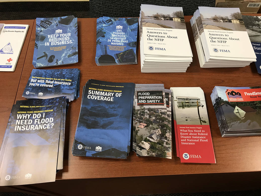 Robin Hebrock/Pahrump Valley Times A view of the informational materials provided at the Flood ...