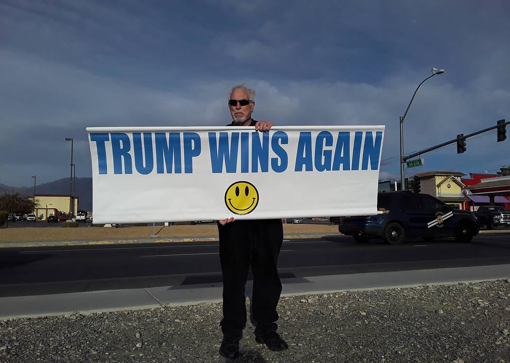Selwyn Harris/Pahrump Valley Times Pahrump resident Gary Marchinke walked along the intersectio ...