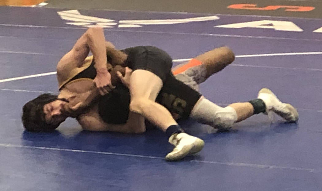 Tom Rysinski/Pahrump Valley Times Pahrump Valley sophomore Coby Tillery clinched his second con ...