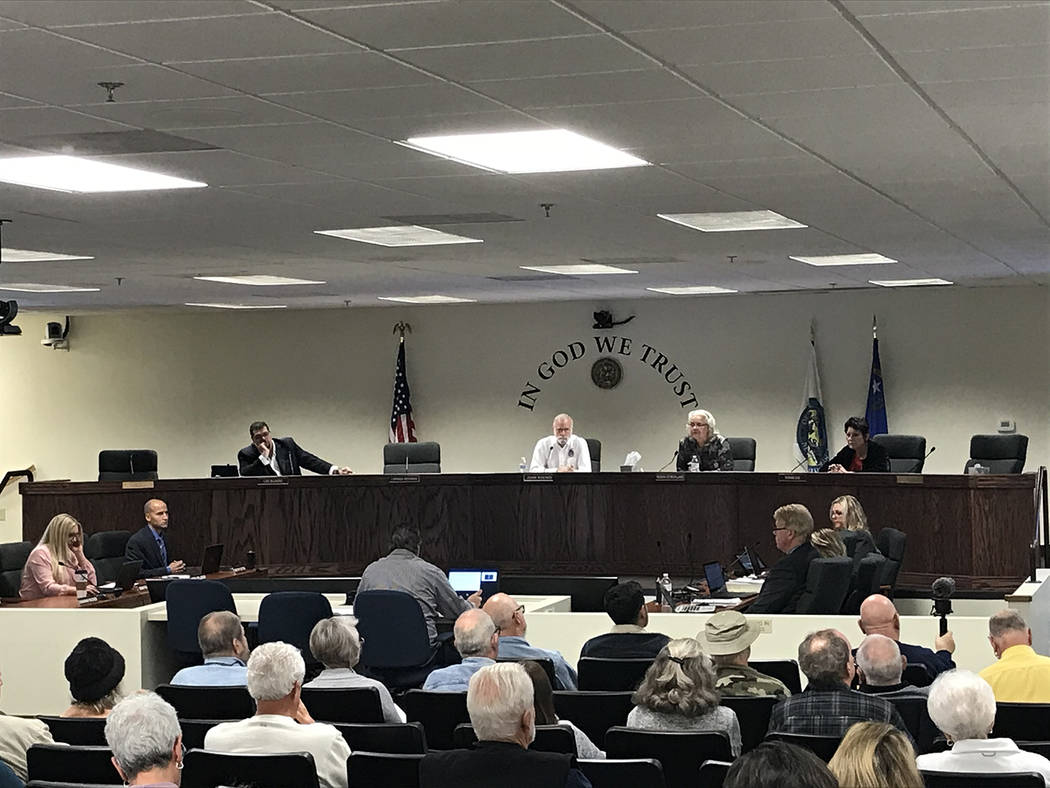 Robin Hebrock/Pahrump Valley Times The Nye County Commission is seen presiding over an appeal h ...