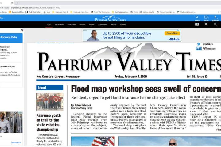 File photo A screenshot of the front page of the Pahrump Valley Times' new e-edition. The e-edi ...