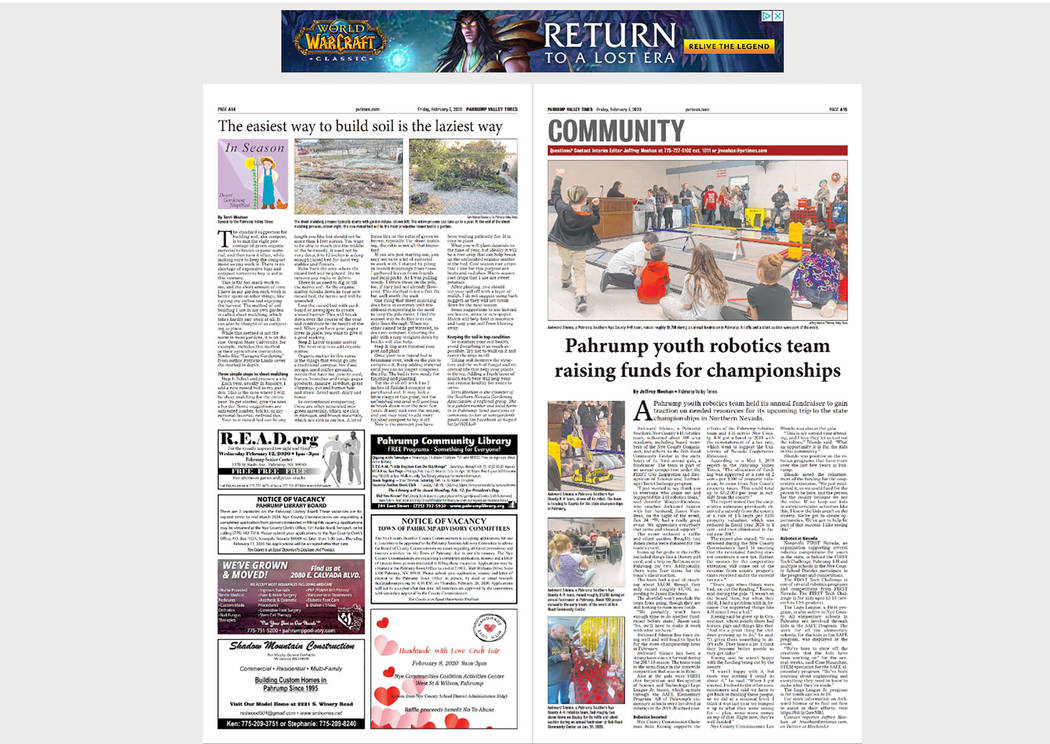 File photo The Pahrump Valley Times' new e-edition lets readers access the publication's conten ...