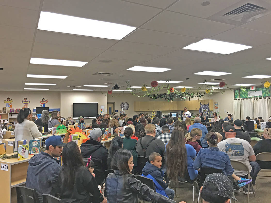 Robin Hebrock/Pahrump Valley Times The Floyd Elementary School Library was packed with families ...