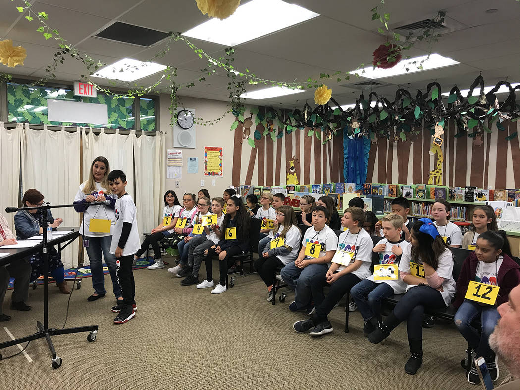 Robin Hebrock/Pahrump Valley Times The students competing in the third through fifth grade Spel ...