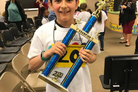 Robin Hebrock/Pahrump Valley Times Beaming with excitement, fifth-grader Caden Ayala of Manse E ...