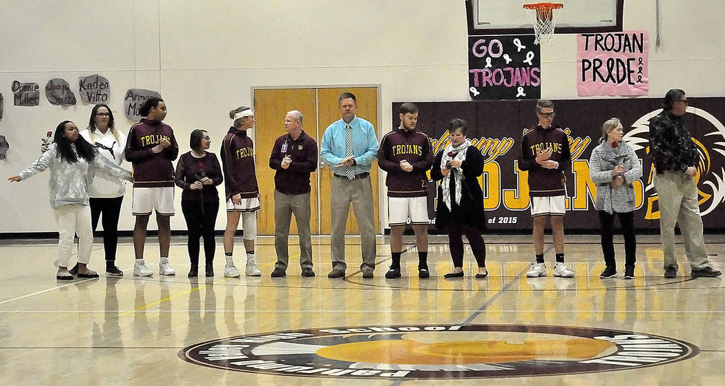 Horace Langford Jr./Pahrump Valley Times Senior basketball players, from left, Jerrick Sparkman ...