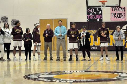 Horace Langford Jr./Pahrump Valley Times Senior basketball players, from left, Jerrick Sparkman ...