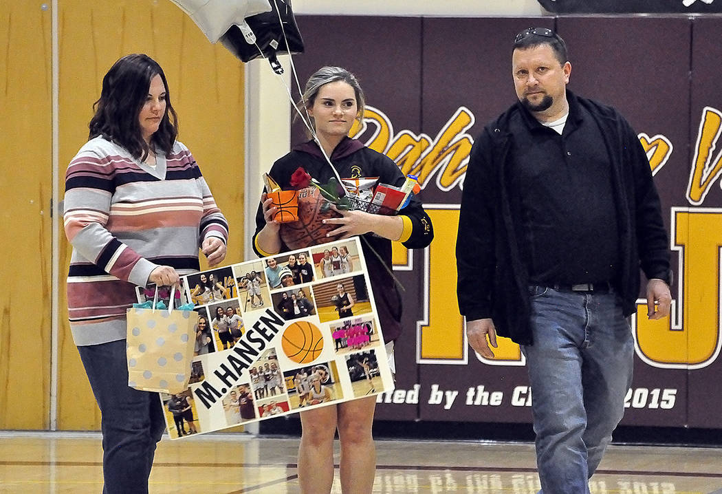 Horace Langford Jr./Pahrump Valley Times Pahrump Valley senior basketball player Maddie Hansen ...