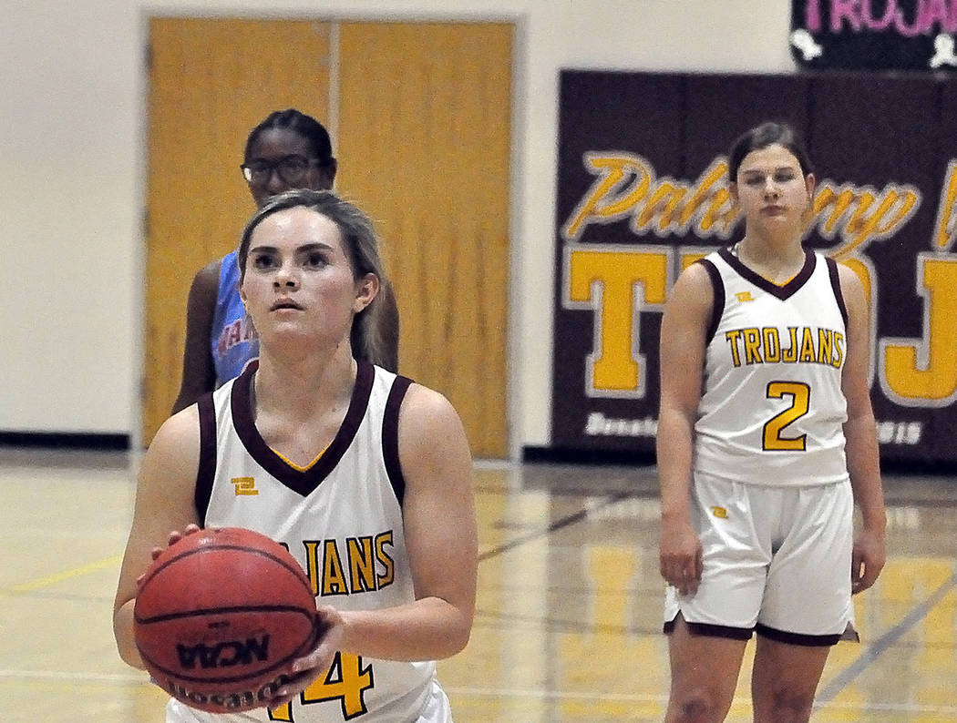 Horace Langford Jr./Pahrump Valley Times Senior Maddie Hansen eyes a free throw during the thir ...