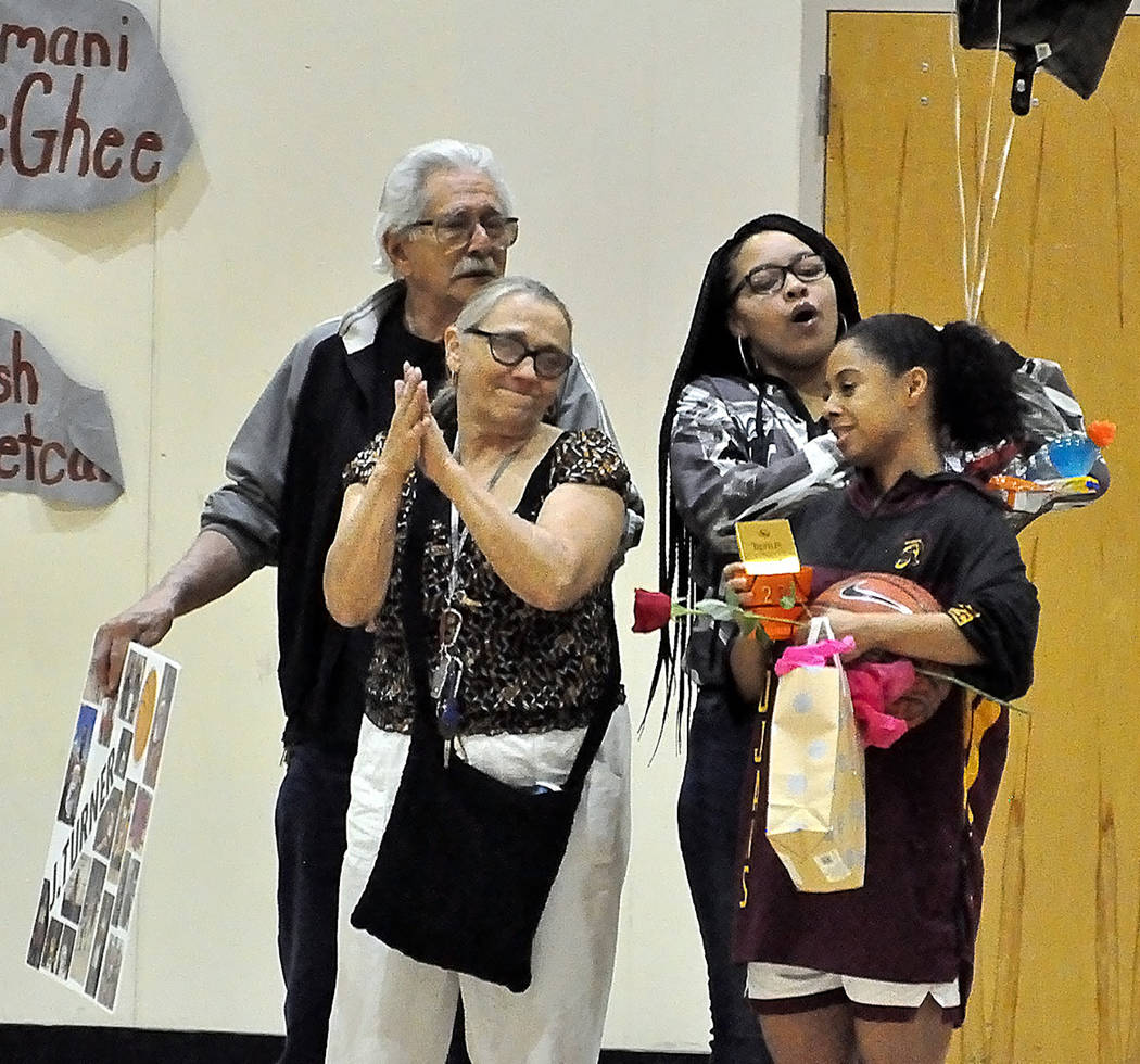 Horace Langford Jr./Pahrump Valley Times Family members help Jazmyne Turner celebrate Senior Ni ...