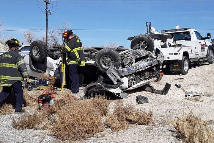 Selwyn Harris/Pahrump Valley Times Pahrump fire crews were forced to remove a mechanically entr ...