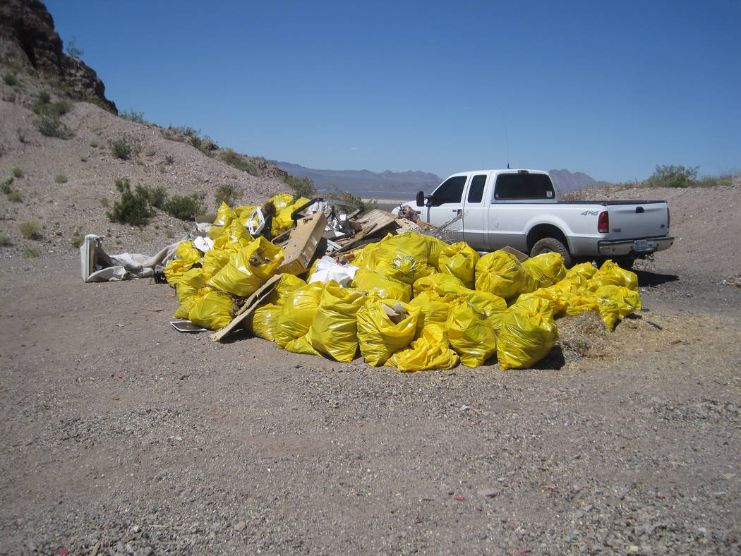 Courtesy photo The Southern Nevada Off Road Enthusiasts held a desert cleanup earlier this mont ...
