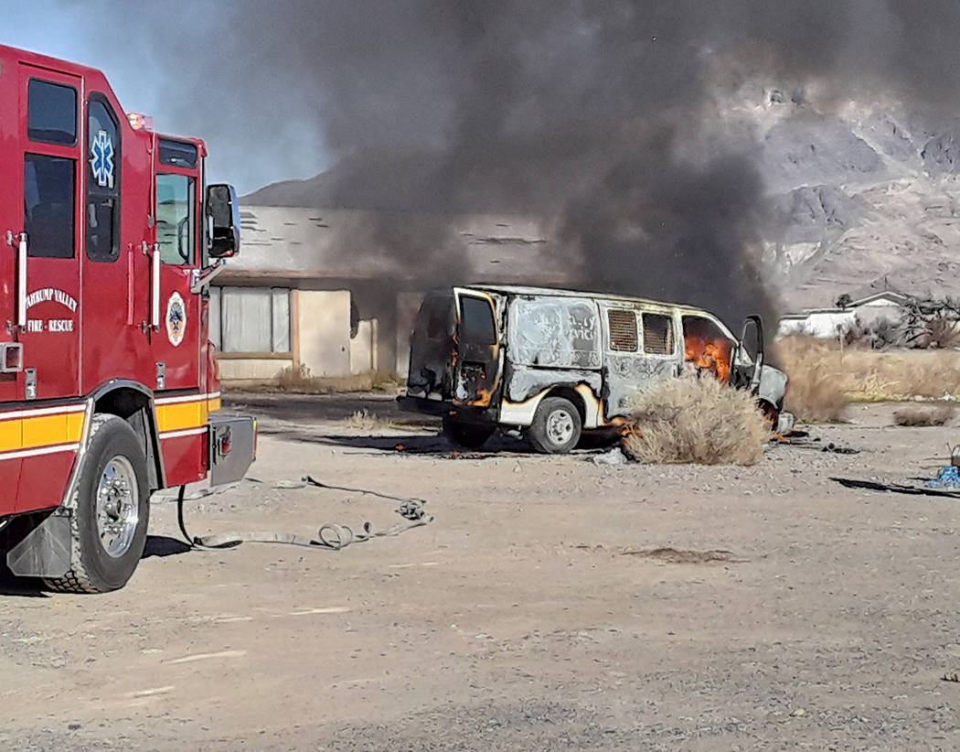 Selwyn Harris/Pahrump Valley Times Pahrump Valley Fire and Rescue Services crews responded to r ...