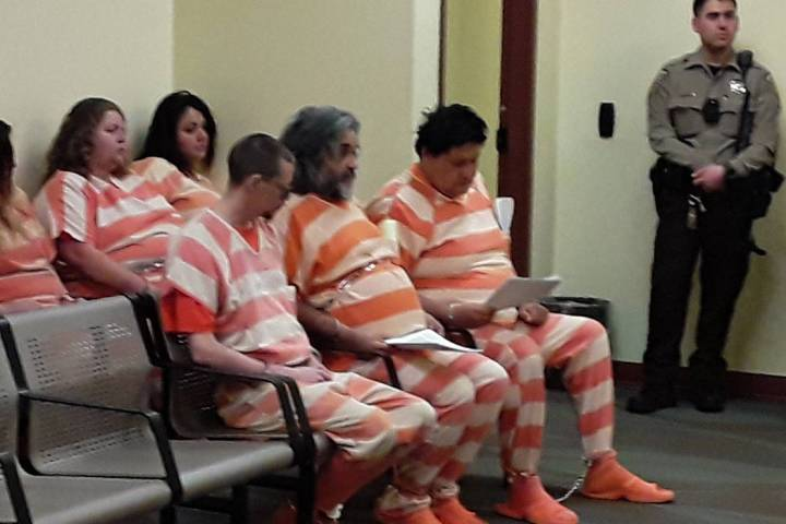 Selwyn Harris/Pahrump Valley Times Four suspects were arraigned in Pahrump Justice Court on Thu ...