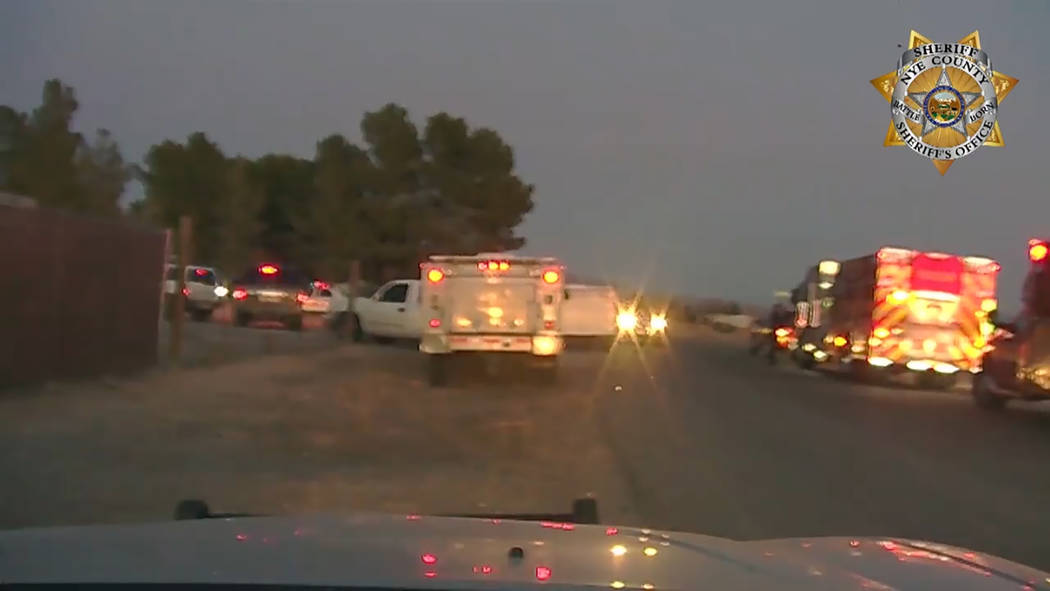 Courtesy A screenshot of dash cam footage from the Nye County Sheriff's Office just before a se ...