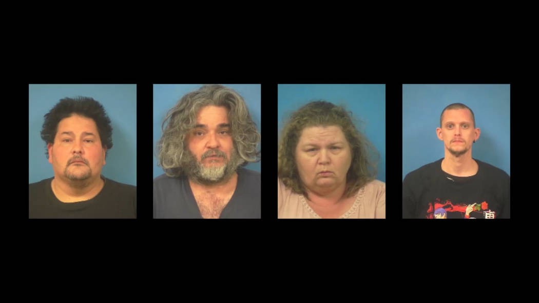 Screenshot of Nye County Sheriff's Office's video statement on four suspects arrested on charge ...