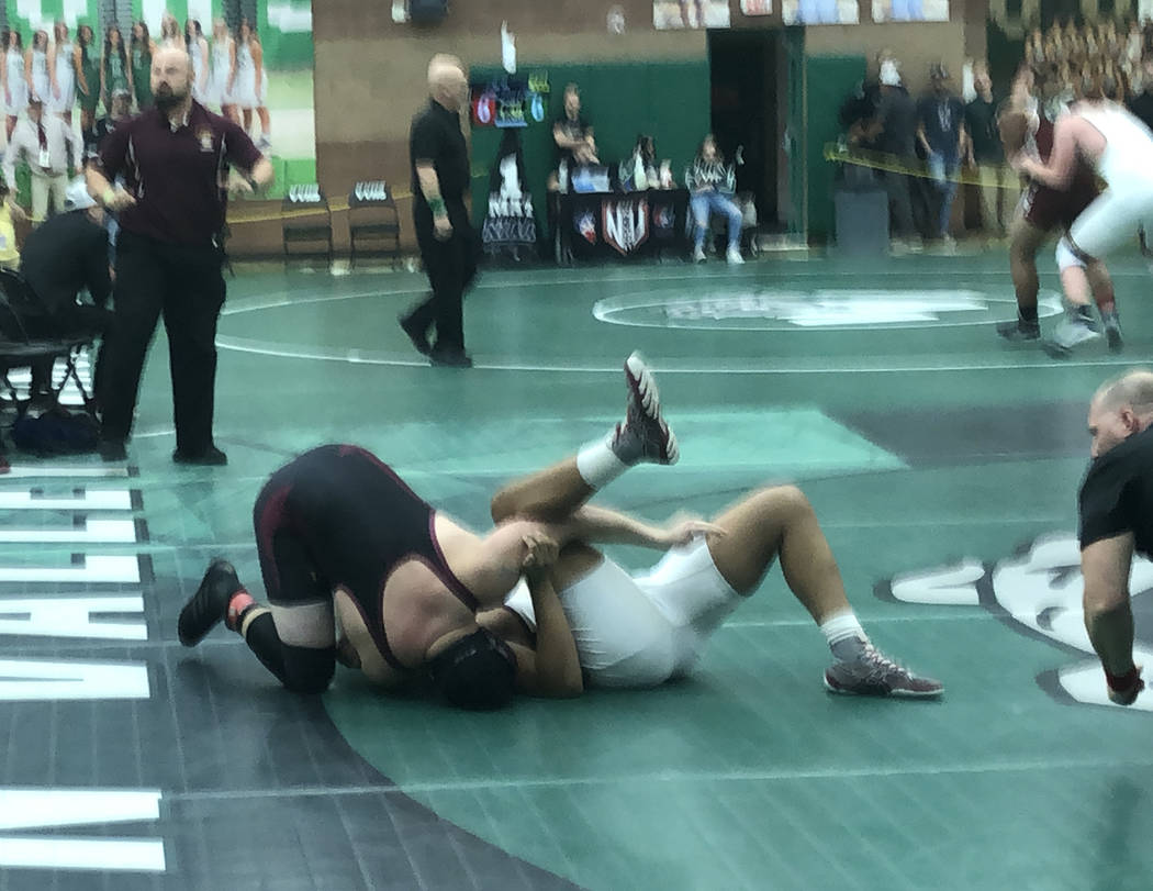 Tom Rysinski/Pahrump Valley Times Junior Anthony Pearson of Pahrump Valley closes in on a pin o ...