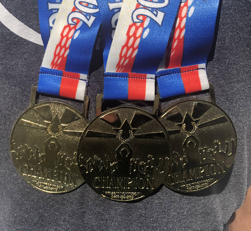 Tom Rysinski/Pahrump Valley Times Marvin Caperton of Pahrump won these gold medals with his spr ...
