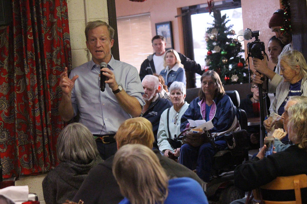 Jeffrey Meehan/Pahrump Valley Times Presidential hopeful Tom Steyer speaks to a crowd of over f ...