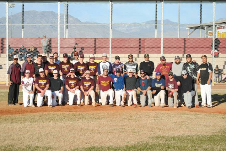 Charlotte Uyeno/Pahrump Valley Times Participants in the annual Maroon and Gold Alumni Game aft ...