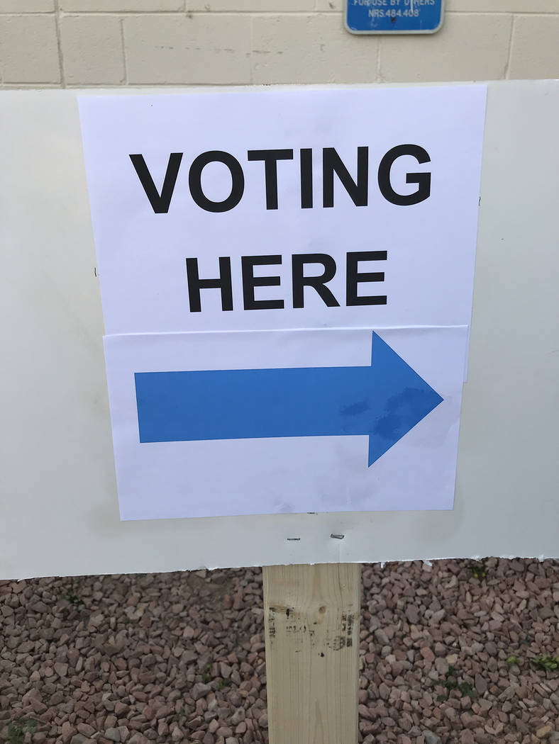 Robin Hebrock/Pahrump Valley Times Directional signs were posted at early voting sites to direc ...