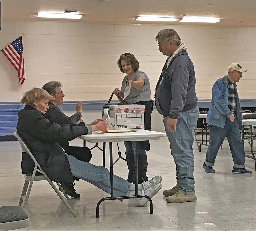 Robin Hebrock/Pahrump Valley Times Nye County Democratic voters are shown placing their paper p ...