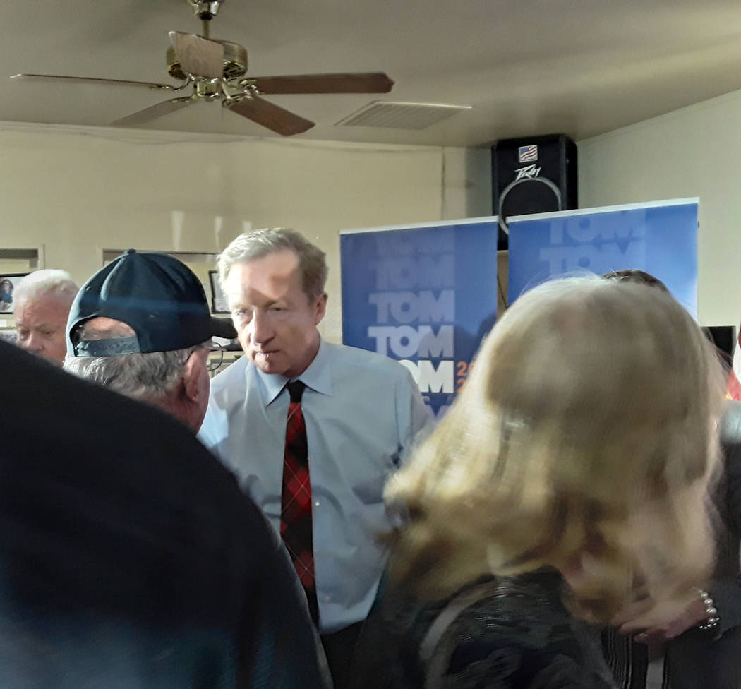 Selwyn Harris/Pahrump Valley Times Following his campaign speech, candidate Steyer took time to ...