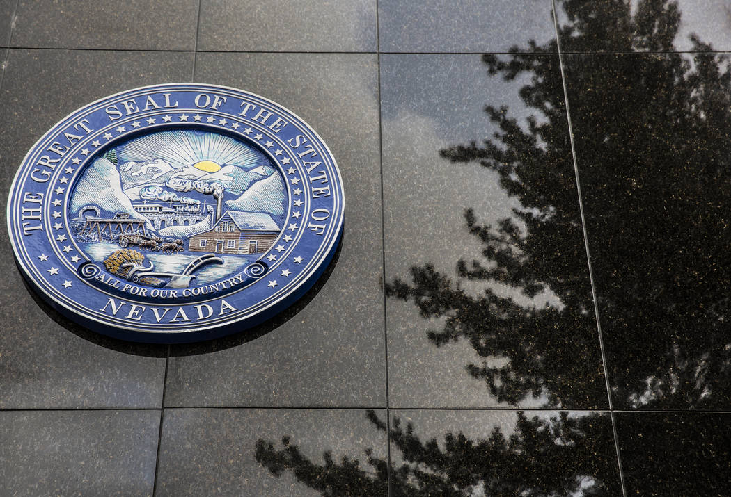 Benjamin Hager/Las Vegas Review-Journal The Nevada State Seal on the north side of the Legislat ...