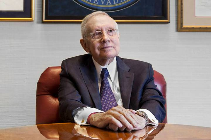 Former Sen. Harry Reid, D-Nev., sits at his office in the Bellagio in February 2019 in Las Vega ...