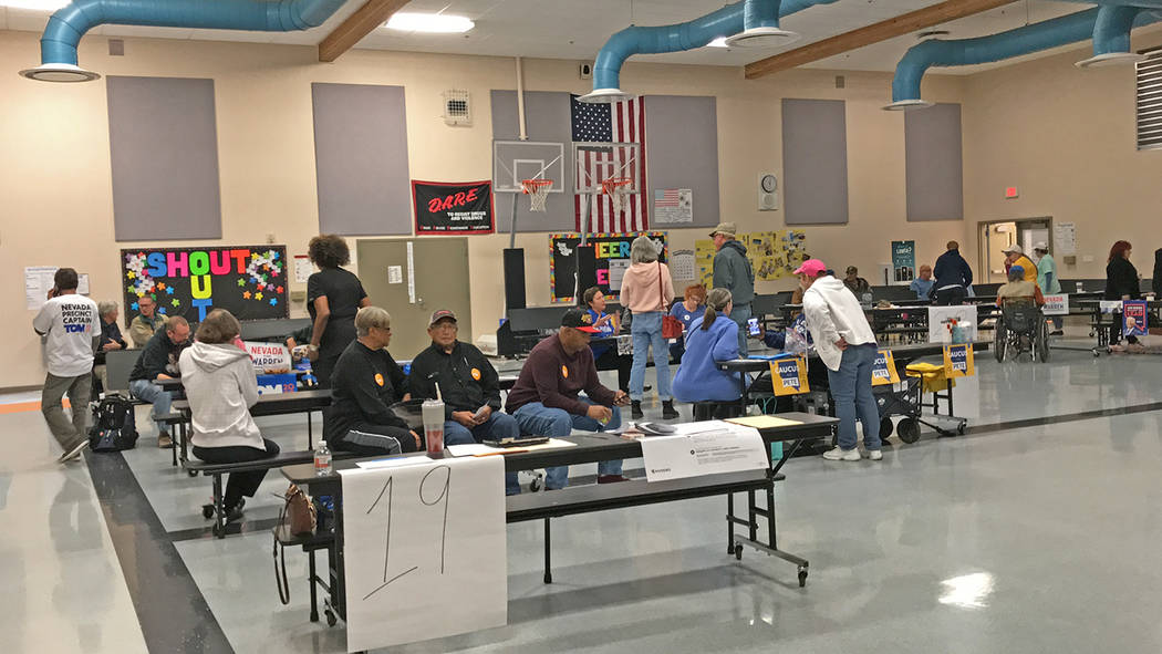 Robin Hebrock/Pahrump Valley Times The scene at Floyd Elementary School as of 11 a.m. on Caucus ...