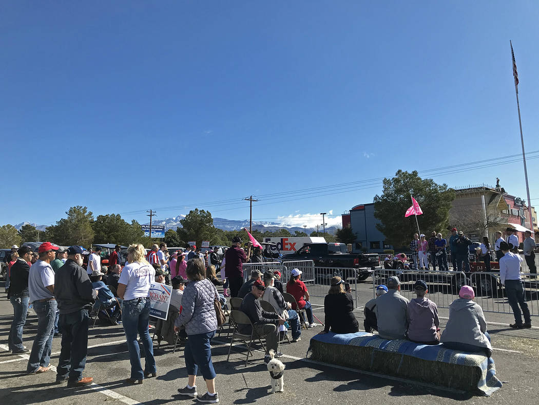 Robin Hebrock/Pahrump Valley Times Following the Keep America Great Parade, residents gathered ...