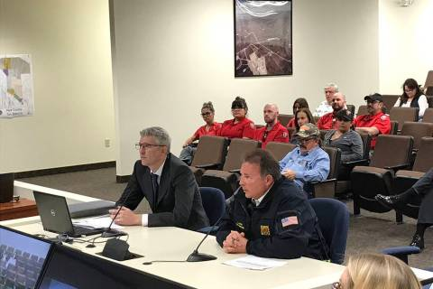 Robin Hebrock/Pahrump Valley Times Pahrump Valley Fire and Rescue Service Chief Scott Lewis, ri ...
