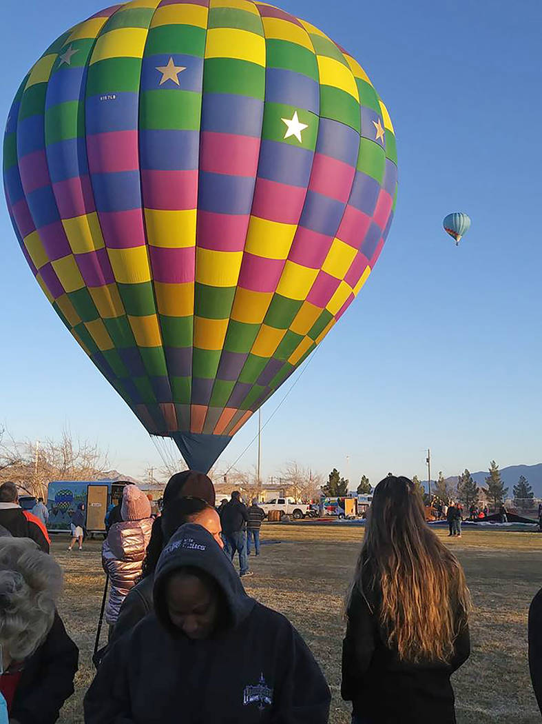 Pahrump Chamber of Commerce Chamber Executive Director Jenney Sartin took her first-ever balloo ...