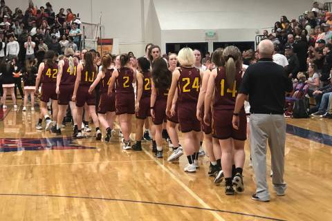 Tom Rysinski/Pahrump Valley Times Pahrump Valley High School girls basketball players line up t ...
