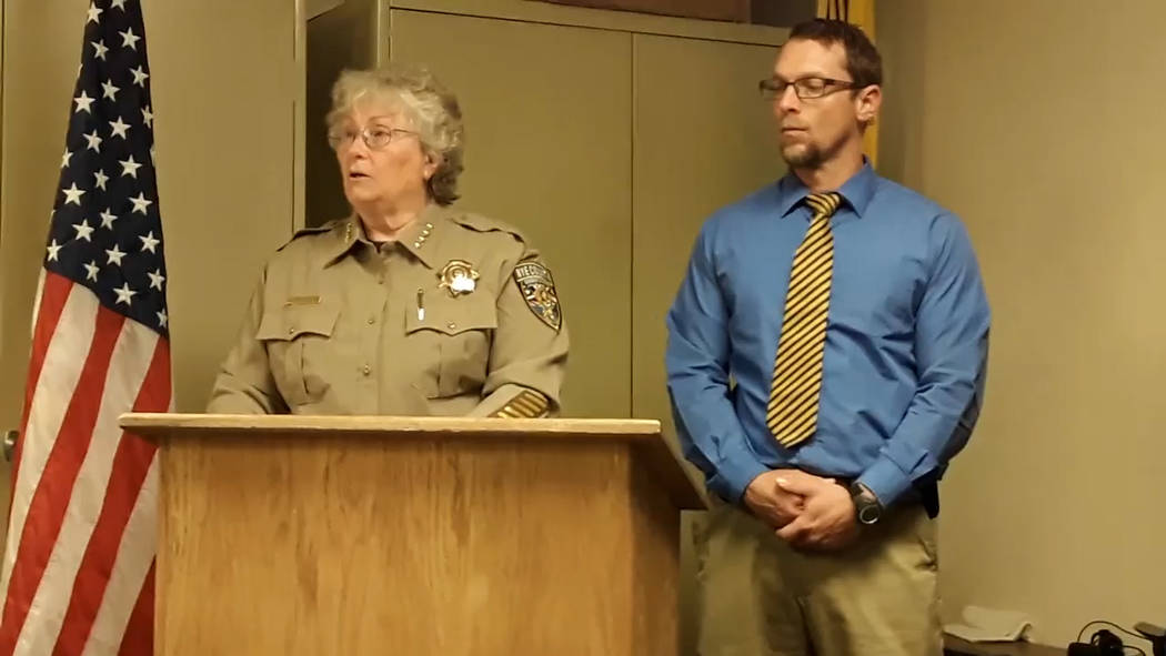 Selwyn Harris/Pahrump Valley Times During a Nye County Sheriff's Office press conference on Fri ...
