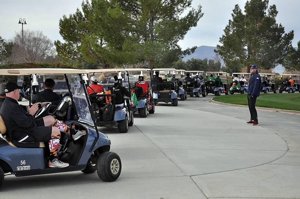Horace Langford Jr./Pahrump Valley Times Footgolfers head out to the first tee Saturday as tour ...