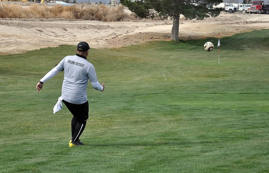 Horace Langford Jr./Pahrump Valley Times A player from the Oakland FootGolf Club sends the ball ...
