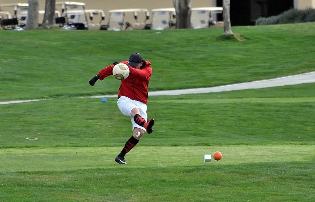 Horace Langford Jr./Pahrump Valley Times A footgolfer tees off Saturday at Mountain Falls Golf ...