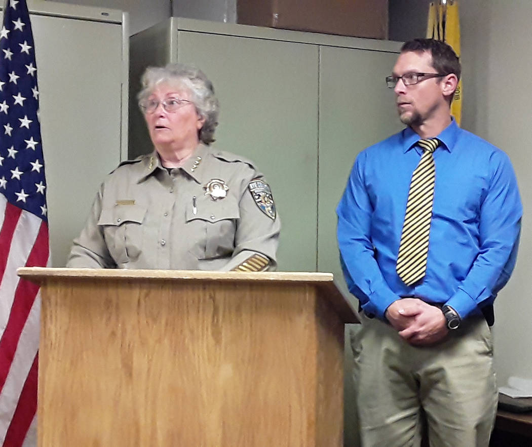 Selwyn Harris/Pahrump Valley Times Nye County Sheriff Sharon Wehrly provided details on a non-f ...