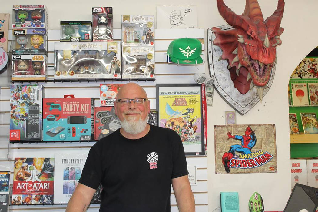 Alyssa Greenway/Special to the Pahrump Valley Times George Chase of Hypno Comics stands inside ...