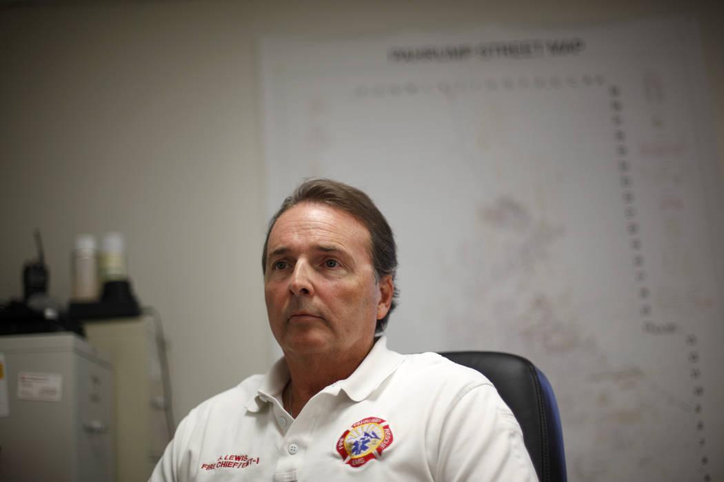 Rachel Aston/Las Vegas Review-Journal Fire Chief Scott Lewis talks to the Review-Journal on Thu ...